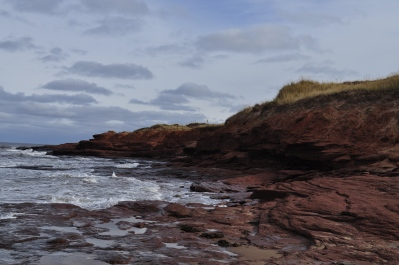 A beach on PEI, showing the vibrant red soils meeting the ocean
