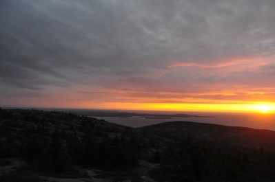 Sunrise atop Cadillac Mountain in Acadia National Park