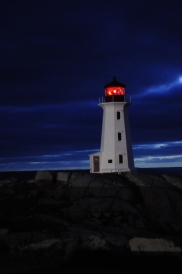 Peggy's Cove Lighthouse at night