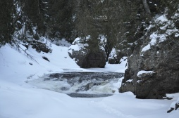 Cascade River peaking out through the snow