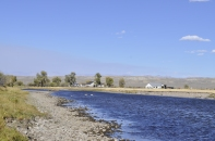 The only settlement on the river we saw all day. Wind River Mountains in the background