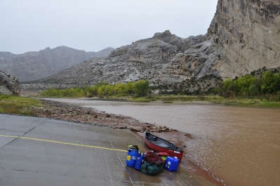Launching at Split Mountain in Dinosaur National Monument in the rain