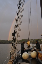 Preparing to dock after a rainstorm