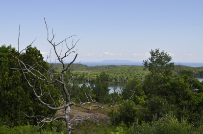 Overlook of Lake Desor (foreground) and Canada's Sleeping Giant (background)
