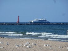 Lake Express Ferry entering the Muskegon Channel