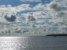 Morning clouds at Presque Isle Harbor